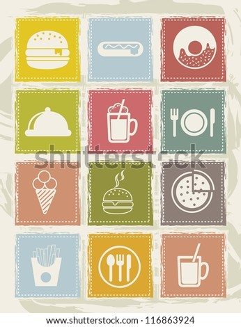 black fast food icons over grunge background. vector