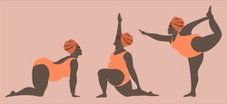 Black fat women in peach swimwear doing yoga. The set of athletic thick girls show postures. Collection of vector cartoon African women involved in sports isolated on pink background.
