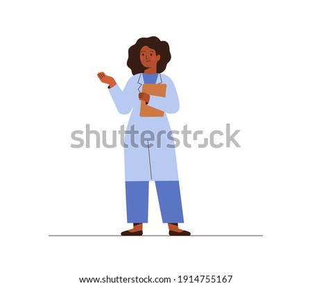 Black female doctor in medical uniform pointing and showing smth with hand. Confident African American woman medicine worker explaining and presenting something. vector flat illustration.  Foto stock ©