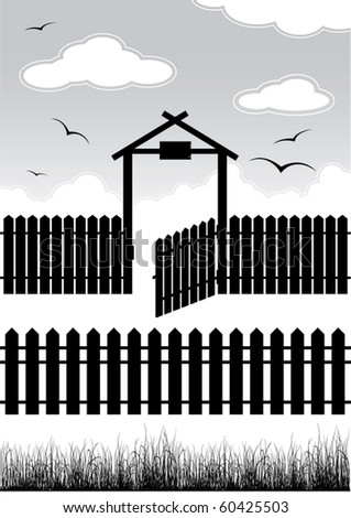 black fence with gate