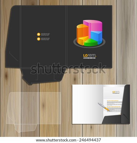 Black financial folder template design for corporate identity with color chart. Stationery set