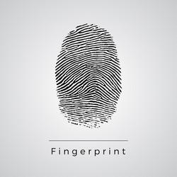 Black Fingerprint Identification Symbol. Vector.