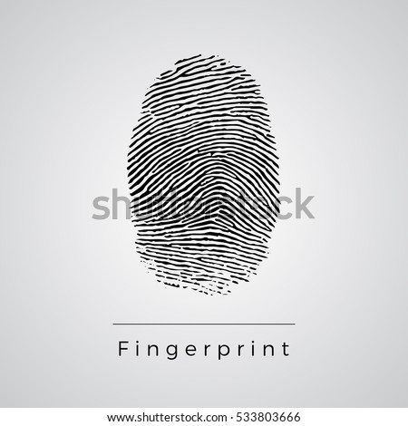 Black Fingerprint Identification Symbol. Vector.