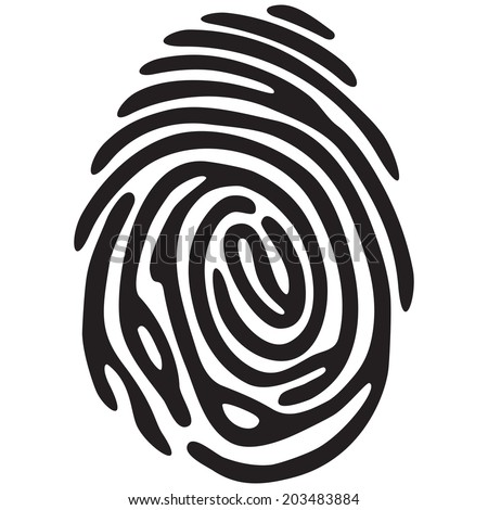 Black fingerprint shape. secure identification. Vector illustration