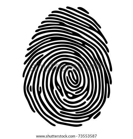 Black fingerprint shape. secure identification. Vector illustration