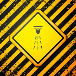 Black Fire sprinkler system icon isolated on yellow background. Sprinkler, fire extinguisher solid icon. Warning sign. Vector