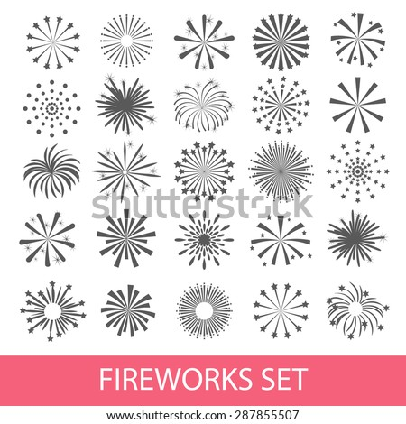 black fireworks set isolated on