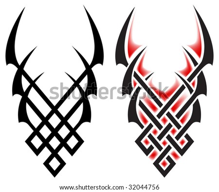 Tribal Tatto on Black Flames For Tattoo And Tribal  Vector Illustration On White