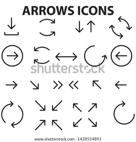 Black flat arrows set.  Vector illustration isolated on white background. EPS VECTOR #1428554891