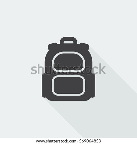 Black flat Backpack icon with long shadow on white background