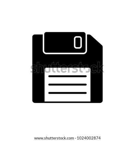 Black flat floppy disk vector icon EPS 10