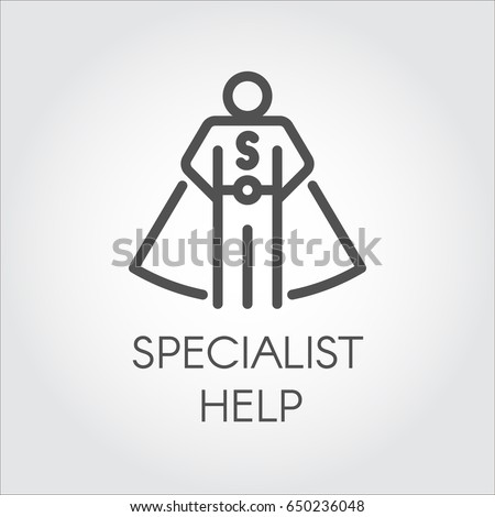 Black flat line icon symbolizing a specialist consultant or other assistant. Online consultant, personal assistant, person who can help concept. Vector illustration on light gray background