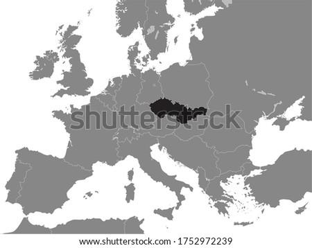 Black Flat Map of Czechoslovak Socialist Republic - Czechoslovakia (year 1956–1990) inside Gray Map of European Continent Photo stock ©