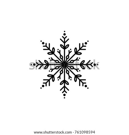 black flat outline snowflake icon isolated on white. New Year pictogram. Vector illustration. Christmas clip art. Web button. Christmas label. winter sign. back and white