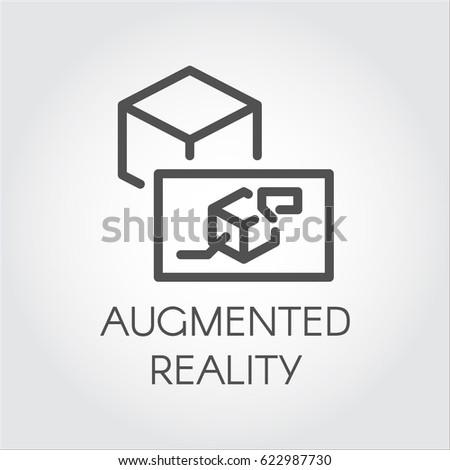 Black flat simple icon in style line art. Outline symbol with stylized image of a new device virtual augmented reality. Stroke vector logo digital AR technology future. Mono linear pictogram web.