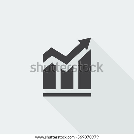 Black flat Trend icon with long shadow on white background