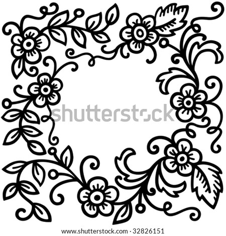black and white patterns for infants. stock vector : lack floral