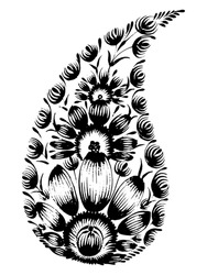 black flower composition, hand drawn, illustration in Ukrainian folk style
