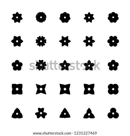 black flower glyphs for design