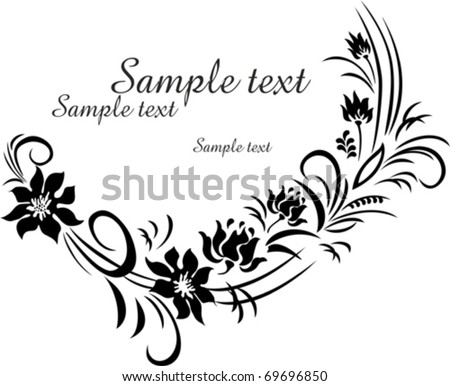 black flower isolated on White background. Vector illustration