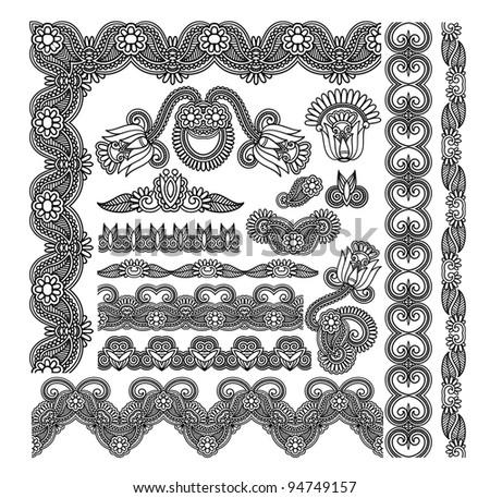 black flower ornamental stripe and decoration pattern  for your design