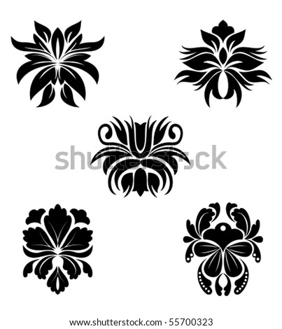 Black flower patterns for design. Jpeg version also available in gallery