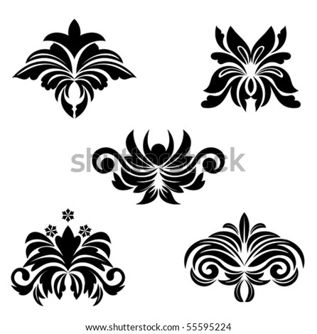 Black flower patterns. Jpeg version also available in gallery