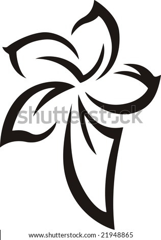 stock vector : Black Flower - Tattoo Vector