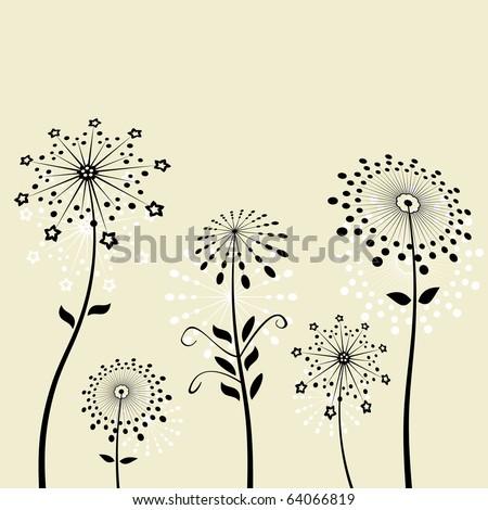 Black flowers silhouette dandelion vector