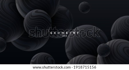 Black flowing spheres textured with wavy striped pattern. Abstract elegant background. Vector 3d illustration. Bouncing balls. Modern cover. Marbled bubbles. Decoration for banner design