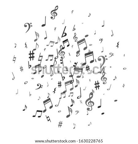 black flying musical notes