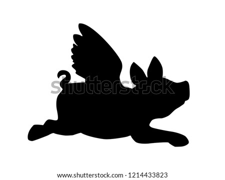 Black flying pig on a white background