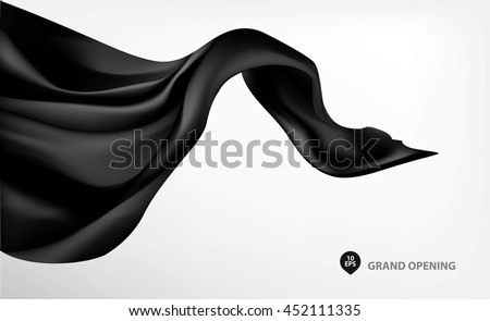 Black flying silk fabric on white background for grand opening ceremony