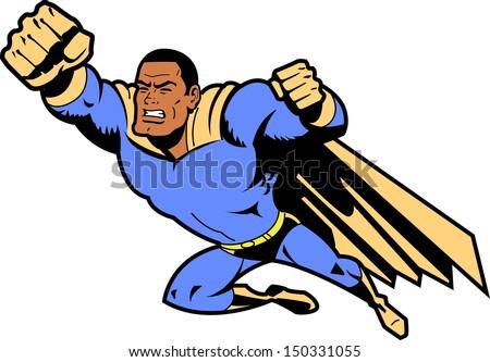 black flying superhero with