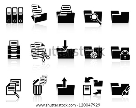 black folder icons set