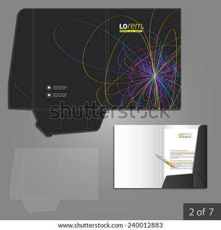 Black folder template design for company with art color lines. Element of stationery.