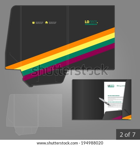 Black folder template design for company with color lines. Element of stationery.