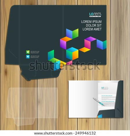 Black folder template design for corporate identity with color geometric pattern. Stationery set