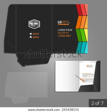 Black folder template design for corporate identity with color square elements. Stationery set