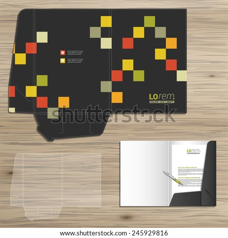 Black folder template design for corporate identity with geometric pattern. Stationery set