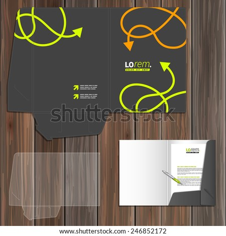 Black folder template design for corporate identity with green and orange arrows. Stationery set