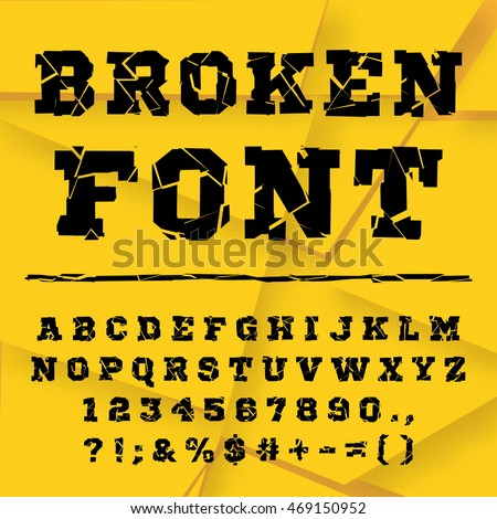 Black font from the broken into fragments letters. Broken alphabet. Broken letters. Broken font. Decorative alphabet. Brocken font. Fonts vector set. Vector font made of broken glass. Full set.