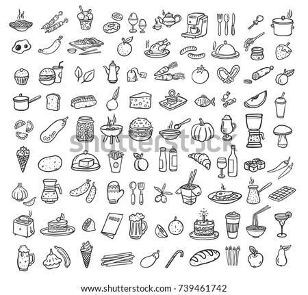 black food icons set