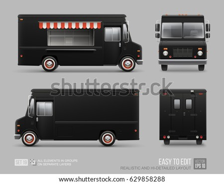 Black Food Truck Hi-detailed vector template for Mock Up Brand Identity. Realistic Delivery Service Vehicle isolated on grey background for Advertising design. Black Classic Truck. Fast-food Van