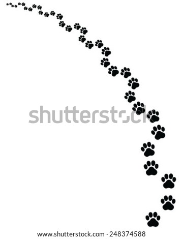 Black footprints of cat, turn left, vector