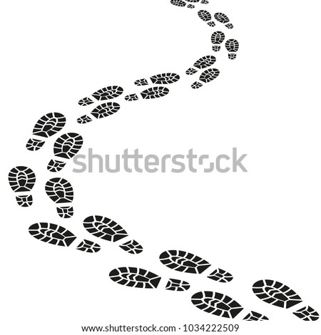 Black Footprints Silhouette Pathway Pattern Men or Women Pairs Shoes. Vector illustration of Foot Print