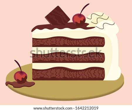 Black forest cake slice. Schwarzwald pie. Hand drawn vector illustration.
