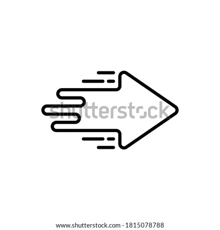 black forward arrow icon like moving. lineart trend modern simple logotype graphic stroke design ui element isolated on white background. concept of easy way or switch badge and trade or migrate Foto stock ©