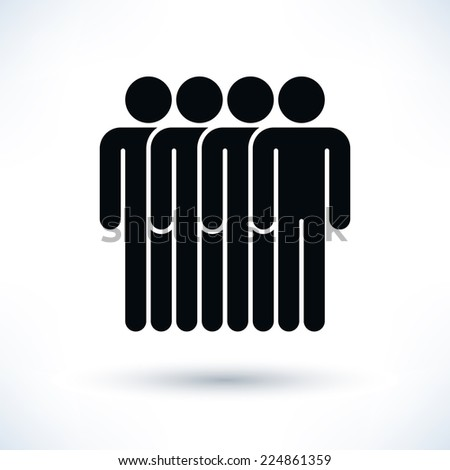 Black four people (man figure) with gray drop shadow isolated on white background in flat style. Graphic design elements save in vector illustration 8 eps