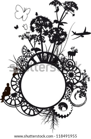 Black frame illustrated with plants and animals